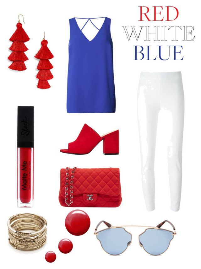 """""""Red, White and Blue!"""" by esteadman-1 on Polyvore featuring Dorothy Perkins, Moschino, Chanel, Christian Dior, BaubleBar, Topshop and Sole Society"""
