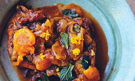 Braised neck of lamb with apricots and cinnamon