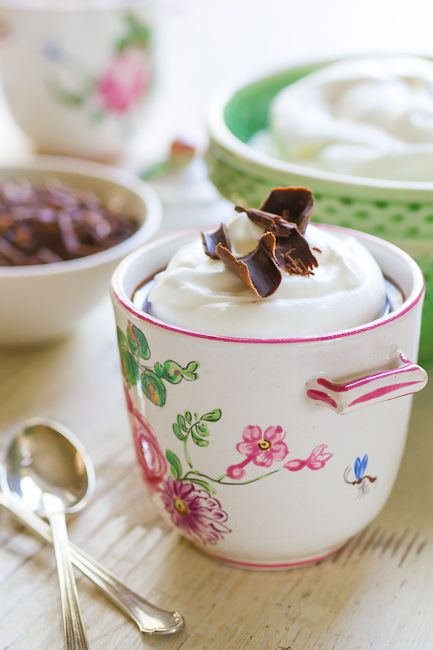 Classic French Chocolate Pot de Creme Recipe – Postcards from Paris  -- I've had it in mind forever to learn this recipe for dinner parties, except I would serve it more bitter with some brandy on the bottom.