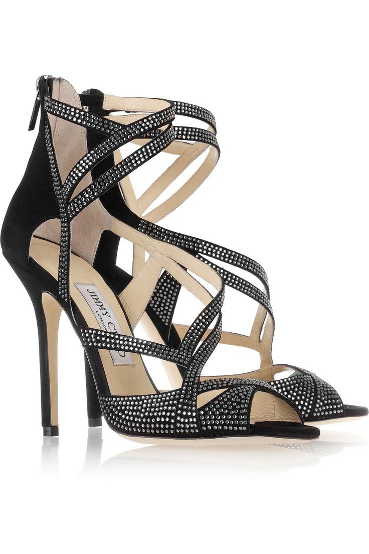 Jimmy Choo Dome Diamanté-Embellished Suede Sandals €750 #JimmyChoo #Shoes  with <3 from JDzigner www.jdzigner.com