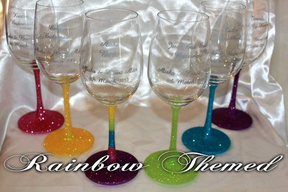 Rainbow Glittered Glassware Engraved by PerfectlyPersonalise, $110.00