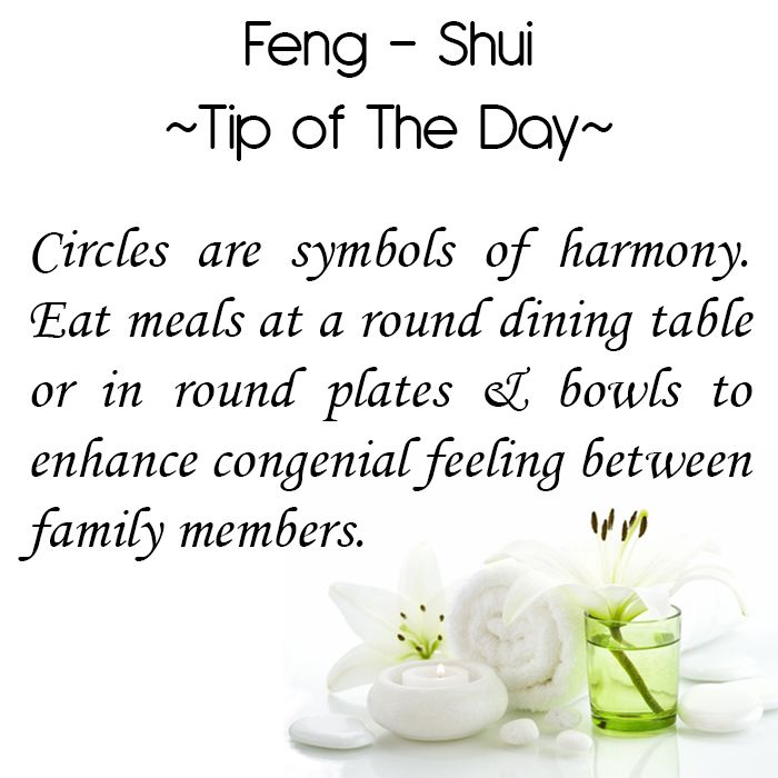 Feng Shui Tip of the Day: Circles are symbols of harmony. Eat meals at a round dining table or in round plates & bowls to enhance congenial feeling between family members.  Get the Vastu experts advice for your home from renowned Vastu Expert Ms. Manisha Koushik.