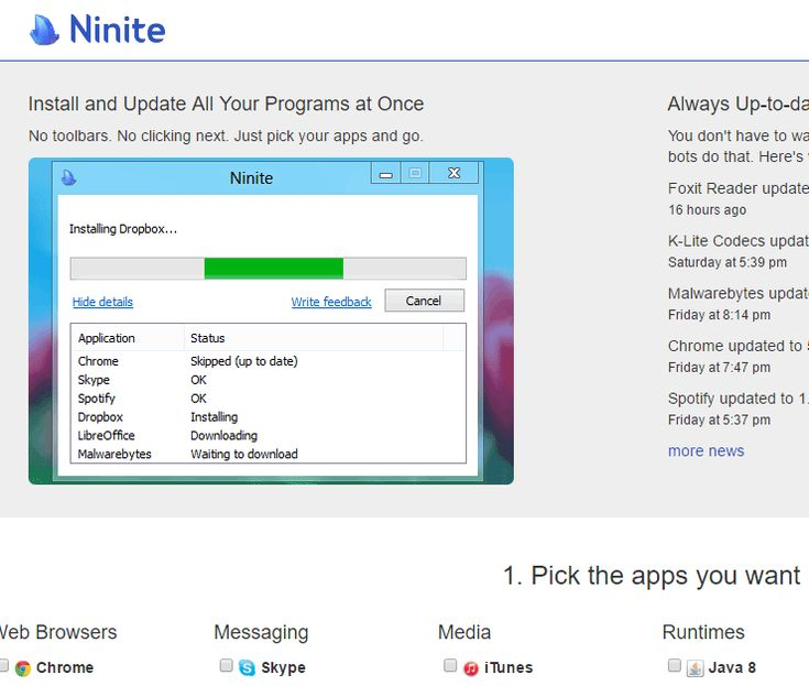 "Ninite is a very cool and useful app for designers that allows you to install most of the free useful programs and utilities you need in your everyday digital live at once and keep them updated at any time. You don't need to do anything. Just select the programs you wish to install and click ""Get […]"