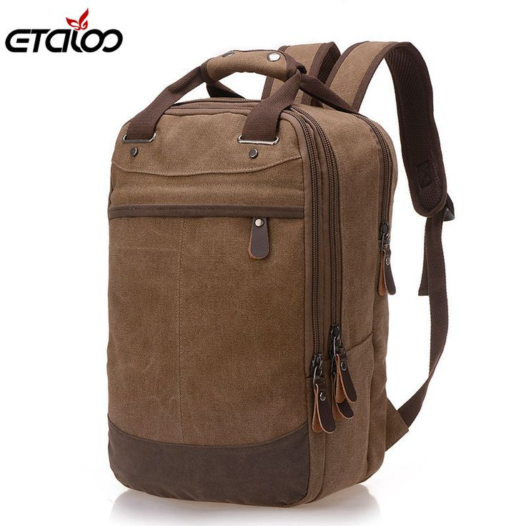 Factory direct foreign trade trend of casual canvas bag man bag computer backpack student leisure shoulder bags //Price: $US $16.99 & FREE Shipping //