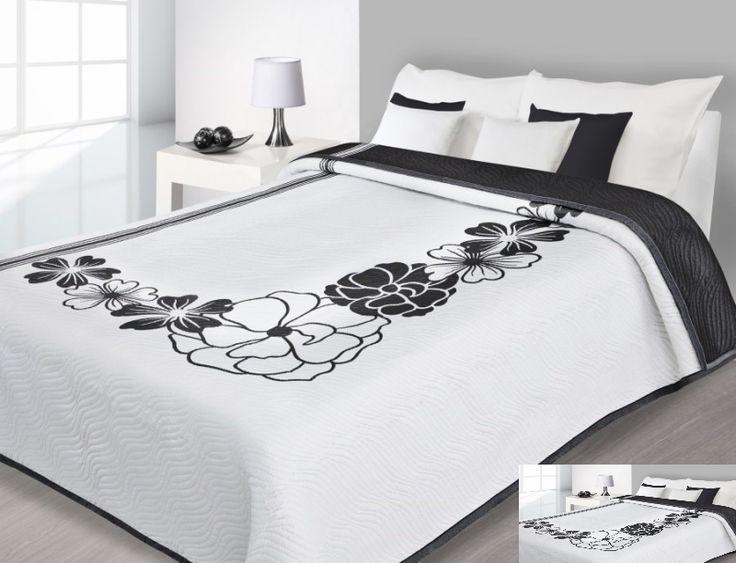 Elegancka narzuta dwustronna biała z czarnymi kwiatami