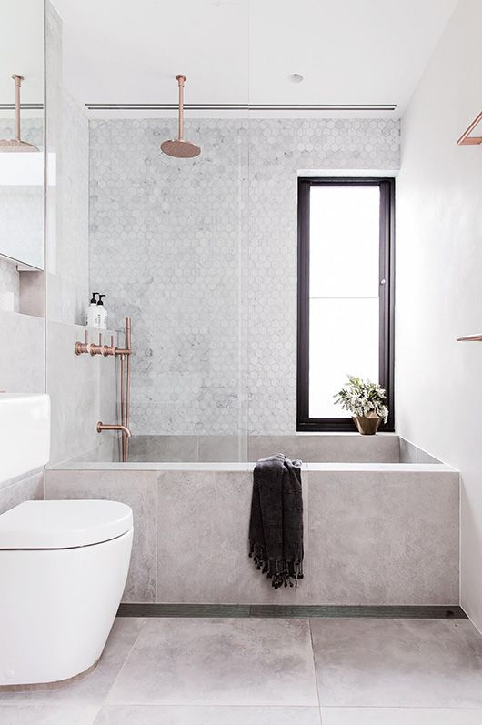 concrete bathtub and tile backsplash in modern sydney bathroom via inside out magazine. / sfgirlbybay