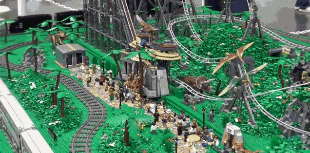 I Want to Visit This 145,000-Piece Lego Jurassic Park Roller Coaster