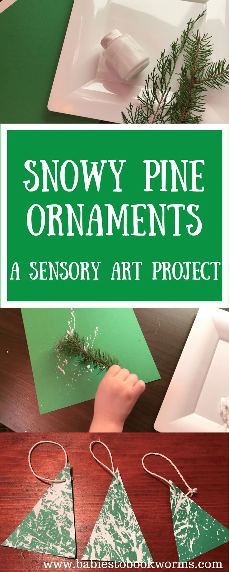 Use pine branches to create snow covered Christmas tree ornaments with this #sensory art project! #ChristmasBooks #KidsBooks #ChristmasCrafts