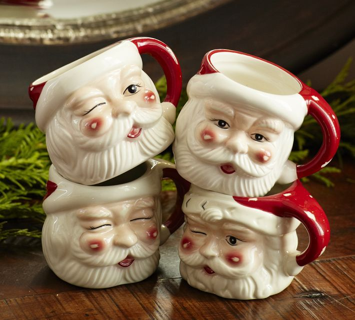 Pottery Barn Santa Mugs Set Of 4 These Bring Back Happy