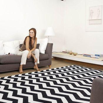 Wytrzymały dywan kuchenny Optical Black White, 80x130 cm   Bonami
