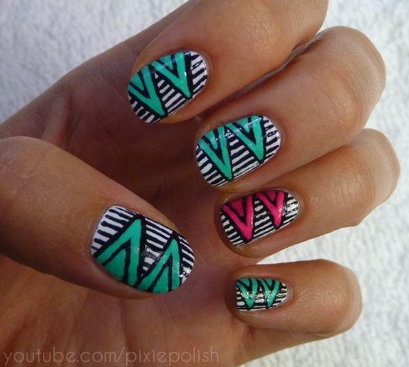 Nails Art, Nailart, Painting Design, Crafts Day, Tribal Nails, Animal Prints, Zig Zag Nails, Nail Art, Diy Nails