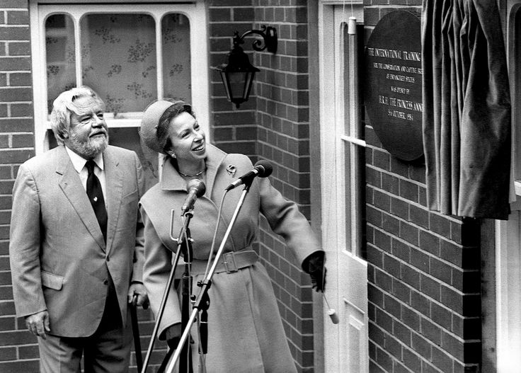 Gerald Durrell with Princess Anne, opening the Durrell Wildlife Academy formerly known as the Internation Training Centre.