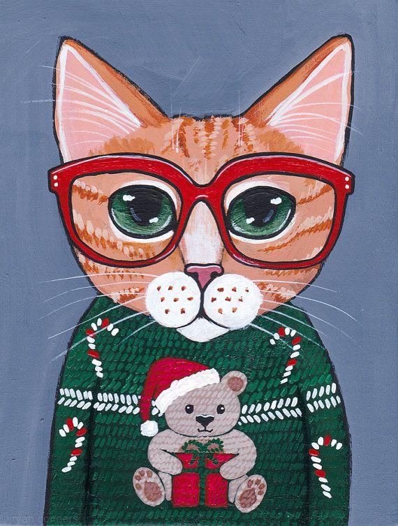 CAT in Ugly Christmas Sweater Original Folk Art by KilkennycatArt