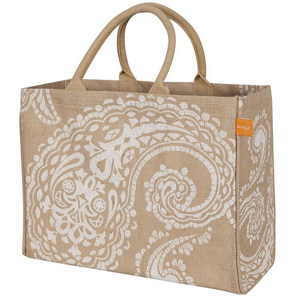 Whim White Paisley Jute Market Tote (48 BRL) ❤ liked on Polyvore featuring bags, handbags, tote bags, white tote bag, pattern tote bag, white tote, paisley tote and white tote handbags
