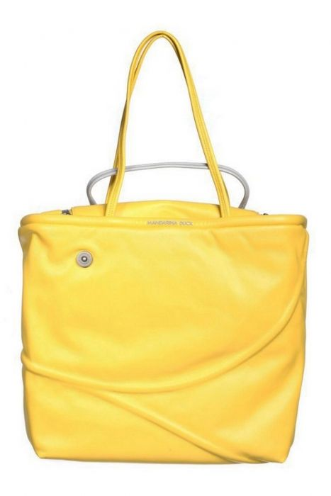 MANDARINA DUCK Woman Hand bag Category: Bags Collection: Curiosity Color(s): yellow - silver Composition: synthetic - Textile - Metal Brand logo, Zip fastener, magnetic closure Inside pocket Size: 34x30x10 cms