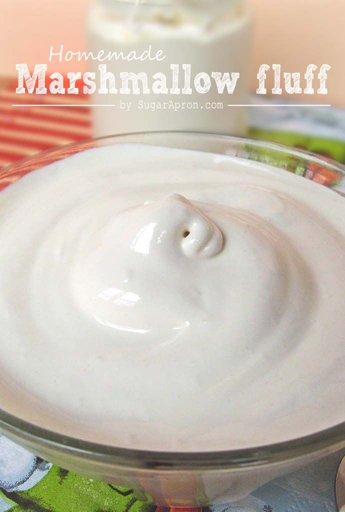 Homemade Marshmallow Fluff Recipe | www.sugarapron.com | A spreadable #homemade #marshmallow #cream