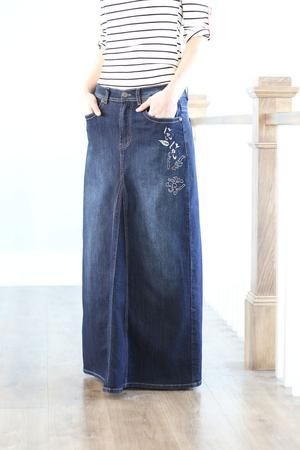 Molly Dark Wash Modest Long Jean Skirt Sizes 6-18