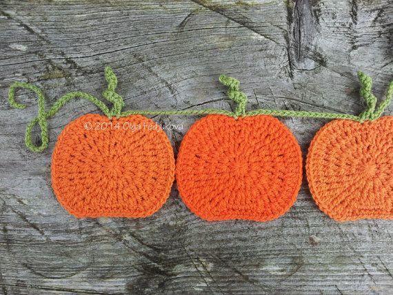 Halloween Crochet Pumpkin Garland Bunting Hanging by OlgaSoleil