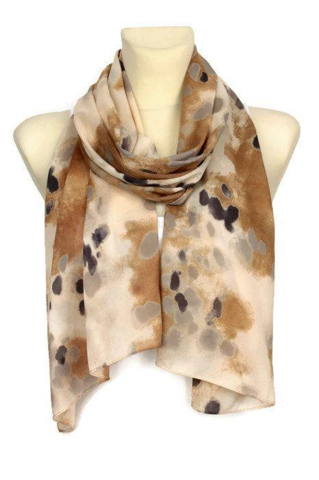 Bruin herfst sjaal  omslagdoek geometrische mode  door LocoTrends