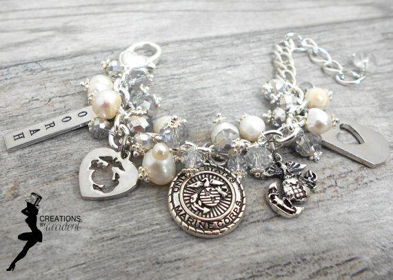 USMC Charm Bracelet - Marine wife, girlfriend, mother, grandmother bracelet - Milso bracelet - Military Jewelry - EGA - OORAH - usmc Jewelry