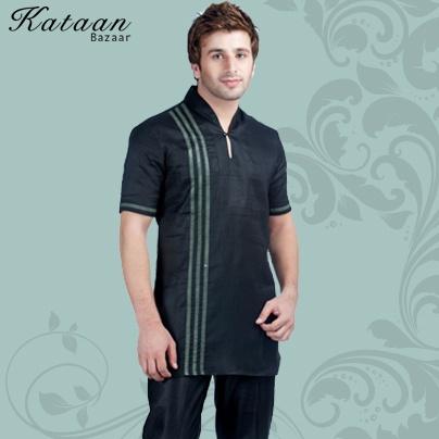 Black Half Sleeved Linen Kurti