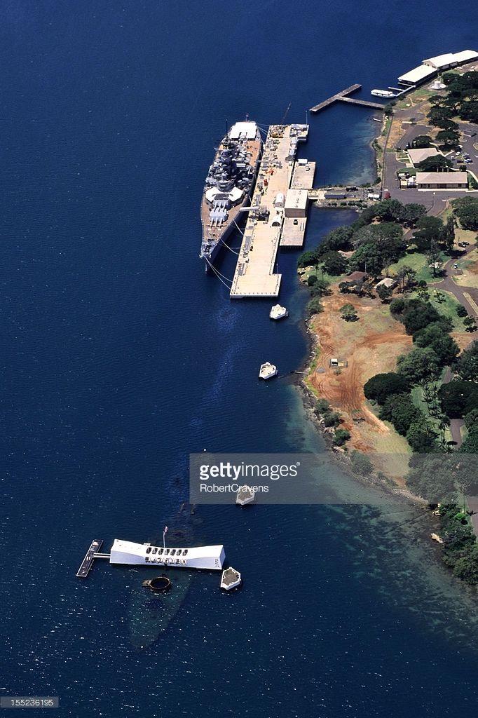 The USS Arizona Memorial and Battleship Missouri are located at Pearl Harbor Oahu Hawaii.