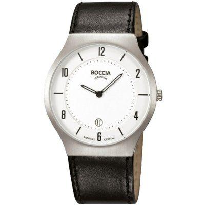 Boccia - Mens Black Leather White Dial Titanium Watch - B3559-01 - RRP £150.00 - Online Price £127.50
