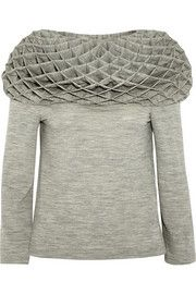 Honeycomb-pleated wool-jersey top