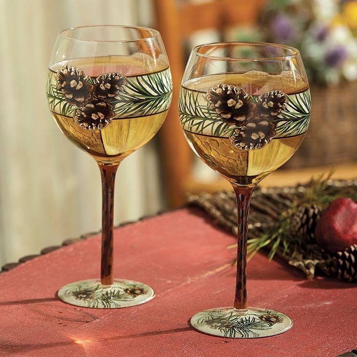 Pinecone Wine Glasses   Set Of 2
