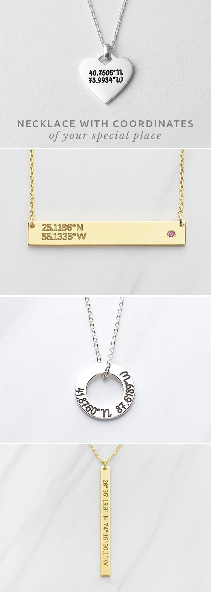 Custom Coordinates Coordinate Jewelry Graduation Necklace Personalized Graduation Gift Latitude Longitude Necklace Sterling Silver Gold