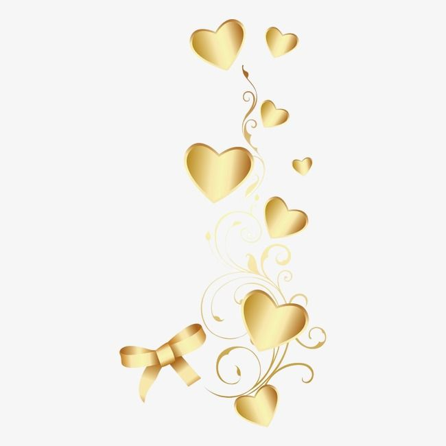 Heart Shaped Golden Decoration Png Transparent Clipart Image And Psd File For Free Download Heart Shapes Image Clip Art