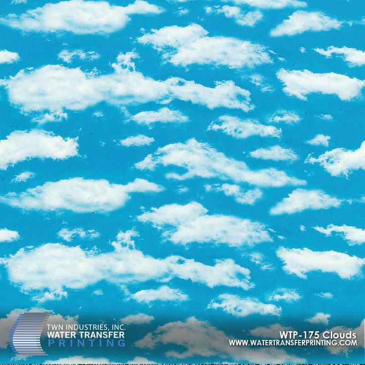 Clouds Hydrographic Film features a retro cloud pattern. Anyone remember Windows 98? Check out our full lineup of designer WTP films!