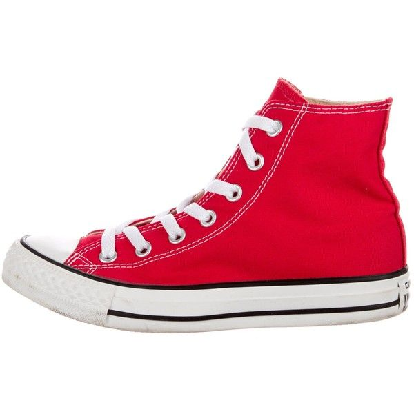 Pre-owned Converse All Star High-Top Sneakers ($45) ❤ liked on Polyvore featuring shoes, sneakers, red, red hi top sneakers, red high top shoes, red trainers, converse shoes and red hi tops