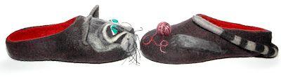 felting slippers cat
