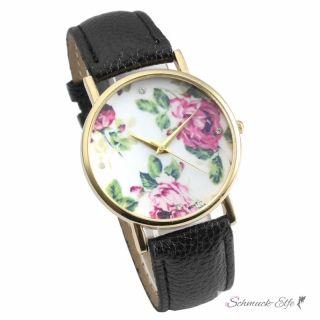 Damen Armbanduhr vintage Rosen mit Zirkonia Gelbgold PU...
