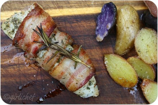 girlichef: Bacon-Wrapped Cod w/ Rosemary and Roasted Fingerling Potatoes