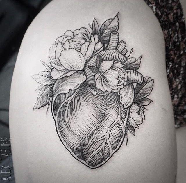 Anatomical Heart Flower tattoo