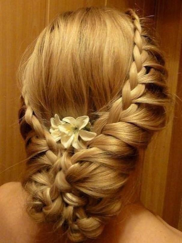 Two Braids into a Low Braided Updo