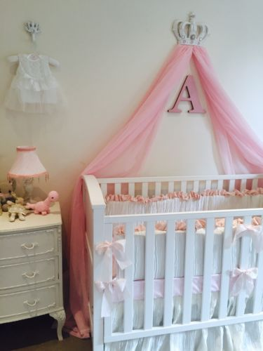 Shabby Chic Customised Princess Girls Cot Bed Crown Voile Canopy Nursery Couture in Baby, Nursery Bedding, Nursery Bedding Sets | eBay