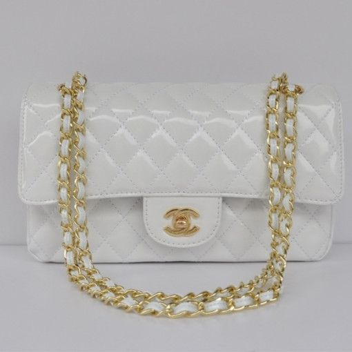 Chanel 2.55 Series Flap Bag 1112 White Patent Leather Golden Hardware - Dobestbuy Chanel USA Online Shop - Cheap Chanel Handbags USA Online Sale,Get 79% Discount Off Now!