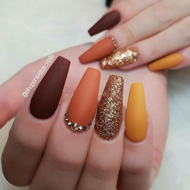 Best Fall Nail Art Designs In 2019 My Daily Time Beauty Health Fashion Food Drinks Archi In 2020 Fall Acrylic Nails Fall Nail Art Designs Nail Designs Glitter
