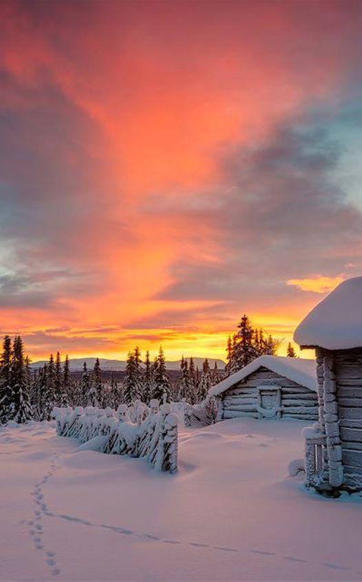 Winter cabin in Staffsvallen, Sweden • Mikael Svensson Photography