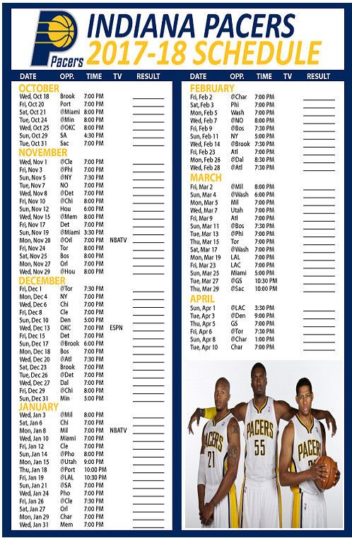 INDIANA PACERS SCHEDULE MAGNET 2017-18 NBA BASKETBALL LEAGUE TEAM SEASON INDIANA