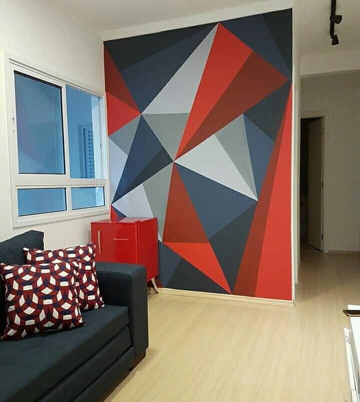 Un mur graphique | Peinture murale géométrique, Peinture murale, Decoration interieur peinture