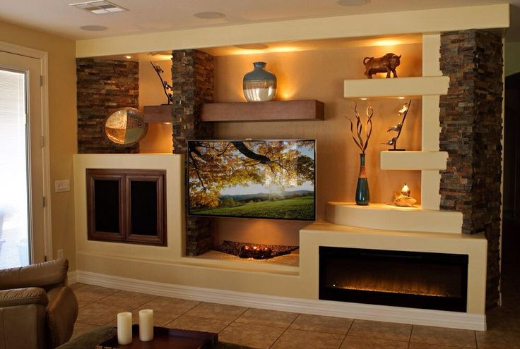 Drywall entertainment center living room pinterest for Drywall designs living room