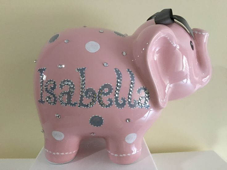 Personalized Large Pink White and Grey  Polka dots elephant Piggy  Bank Newborns , Birthday,Girls,Flower Girl,Baby Shower Gift Centerpiece by KUTEKUSTOMKREATIONS on Etsy