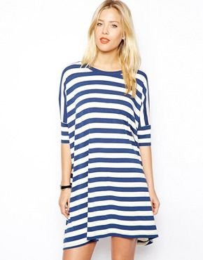 Would live in this for spring/summer. ASOS T-shirt Dress In Stripe