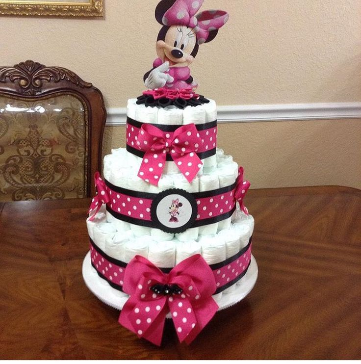 Baby girl baby shower idea (Minnie mouse) diaper cake