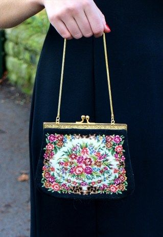 1970s vintage small tapestry bag with coin purse
