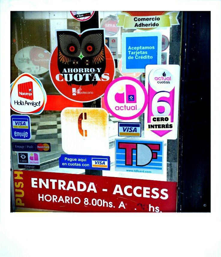 Stickers on a tienda door Ushuaia
